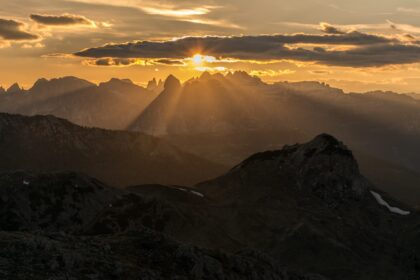 photo of rock mountains during sunrise